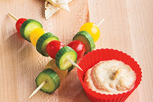 Cherry Tomato & Mini Cucumber Kabobs with Hummus
