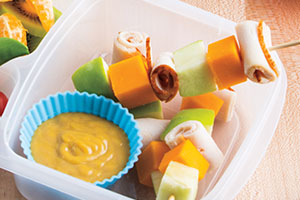 Turkey, Cheese & Apple Kabobs with Honey-Mustard