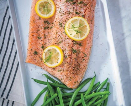 5-Ingredient Slow Cooker Poached Salmon with Green Beans